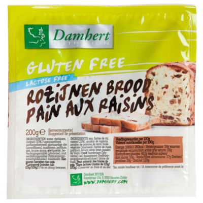 Damhert Glutenvrije rozijnenbrood lactosevrij