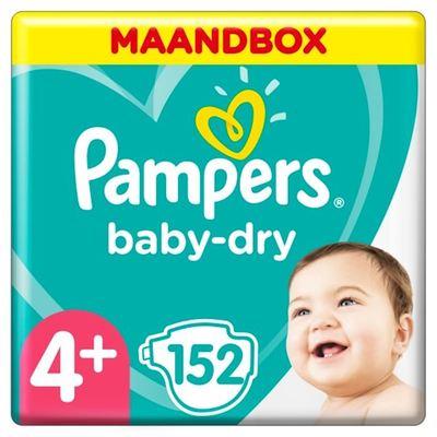 Pampers baby-dry luiers maat 4+, 10-15 kg maandbox