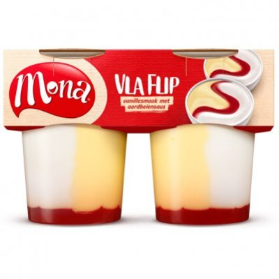Mona Vlaflip vanillevla/ yoghurt/ aardb.saus
