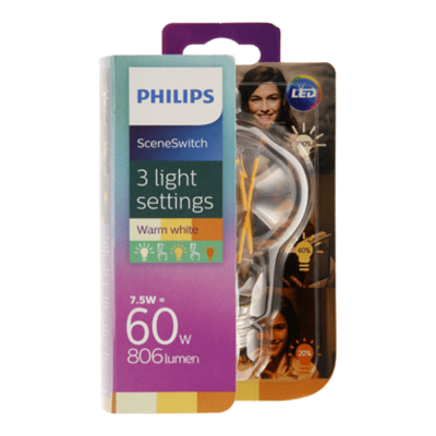 Philips LED scenesw 3 settings fil 60W E27 dim