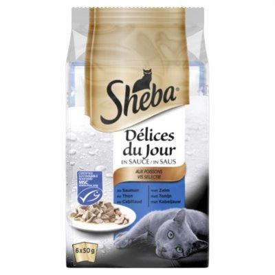 Sheba Kattenvoer nat vis selectie in saus