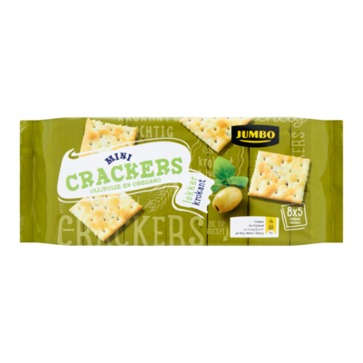 Huismerk Mini Crackers Olijfolie en Oregano 8 x 5 Dubbele Crackers