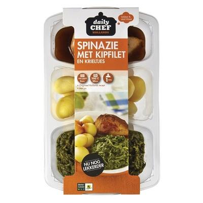 Huismerk spinazie met kipfilet en krieltjes