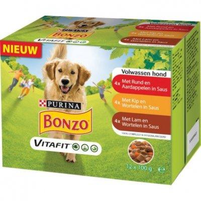Bonzo Maaltijdzakjes met rund, kip en lam