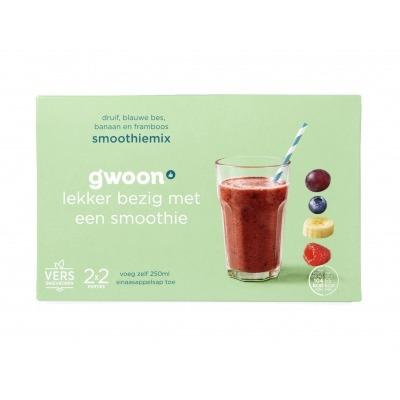 Huismerk Smoothiemix banaan/framboos/druif/bessen