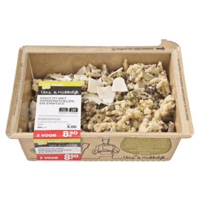 Huismerk Risotto met paddenstoelen, erwtjes