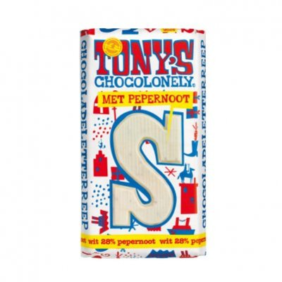 Tony's Chocolonely Witte chocolade letterreep pepernoot S