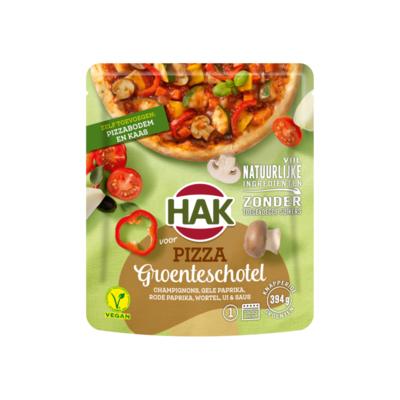 Hak voor Pizza Groenteschotel Champignons, Gele Paprika, Rode Paprika, Wortel, Ui & Saus