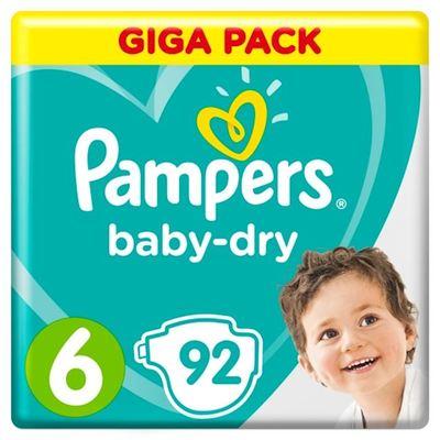 Pampers Baby-Dry maat 6, 92 luiers, voor droge ademende huid