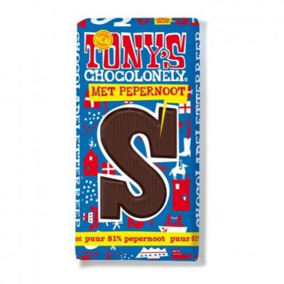 Tony's Chocolonely Pure chocolade letterreep pepernoot S