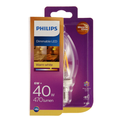 Philips LED filament kaars 40W E14 dimbaar